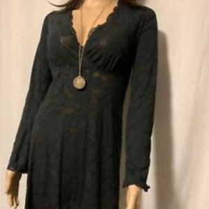 Venus black sheer dress with all over pattern